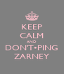 KEEP CALM AND DON'T•PING ZARNEY - Personalised Poster A4 size