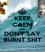 KEEP CALM AND DON'T SAY BURNT SHIT - Personalised Poster A4 size