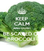 KEEP CALM AND DONT BE SCARED OF BROCCOLI  - Personalised Poster A4 size