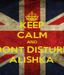 KEEP CALM AND DONT DISTURB ALISHKA - Personalised Poster A4 size