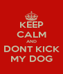KEEP CALM AND DONT KICK MY DOG - Personalised Poster A4 size
