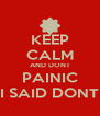 KEEP CALM AND DONT PAINIC I SAID DONT - Personalised Poster A4 size