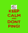 KEEP CALM AND DONT PING! - Personalised Poster A4 size