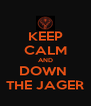 KEEP CALM AND DOWN  THE JAGER - Personalised Poster A4 size