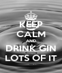 KEEP CALM AND DRINK GIN LOTS OF IT - Personalised Poster A4 size