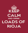 KEEP CALM AND DRINK LOADS OF  RIOJA - Personalised Poster A4 size
