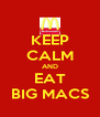 KEEP CALM AND EAT BIG MACS - Personalised Poster A4 size