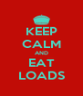 KEEP CALM AND EAT LOADS - Personalised Poster A4 size