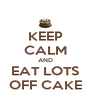 KEEP CALM AND EAT LOTS OFF CAKE - Personalised Poster A4 size