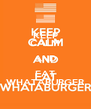 KEEP CALM AND EAT WHATABURGER - Personalised Poster A4 size