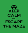 KEEP CALM AND ESCAPE THE MAZE - Personalised Poster A4 size