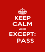 KEEP CALM AND EXCEPT:    PASS - Personalised Poster A4 size