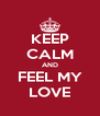KEEP CALM AND FEEL MY LOVE - Personalised Poster A4 size