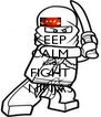 KEEP CALM AND FIGHT NINJAS - Personalised Poster A4 size