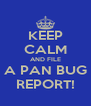 KEEP CALM AND FILE A PAN BUG REPORT! - Personalised Poster A4 size