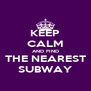 KEEP CALM AND FIND THE NEAREST SUBWAY - Personalised Poster A4 size