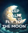 KEEP CALM AND FLY TO  THE MOON - Personalised Poster A4 size