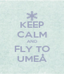 KEEP CALM AND FLY TO UMEÅ - Personalised Poster A4 size