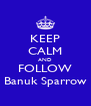 KEEP CALM AND FOLLOW Banuk Sparrow - Personalised Poster A4 size