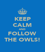 KEEP CALM AND FOLLOW THE OWLS! - Personalised Poster A4 size