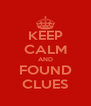 KEEP CALM AND FOUND CLUES - Personalised Poster A4 size