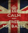 KEEP CALM AND FREE MR. BATES - Personalised Poster A4 size