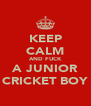 KEEP CALM AND FUCK A JUNIOR CRICKET BOY - Personalised Poster A4 size