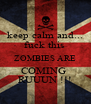 keep calm and... fuck this  ZOMBIES ARE COMING  RUUUN !!! - Personalised Poster A4 size
