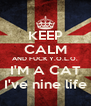 KEEP CALM AND FUCK Y.O.L.O. I'M A CAT I've nine life - Personalised Poster A4 size