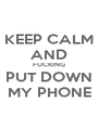 KEEP CALM AND FUCKING PUT DOWN MY PHONE - Personalised Poster A4 size