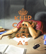 KEEP CALM AND GET  A's - Personalised Poster A4 size