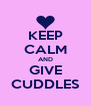 KEEP CALM AND GIVE CUDDLES - Personalised Poster A4 size