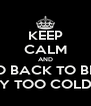KEEP CALM AND GO BACK TO BED BECAUSE IT'S WAY TOO COLD TO GO TO WORK - Personalised Poster A4 size