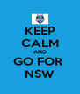 KEEP CALM AND GO FOR  NSW - Personalised Poster A4 size