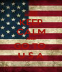 KEEP CALM AND GO TO  U S A - Personalised Poster A4 size