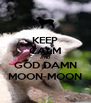 KEEP CALM AND GOD DAMN MOON-MOON - Personalised Poster A4 size