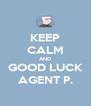 KEEP CALM AND GOOD LUCK AGENT P. - Personalised Poster A4 size
