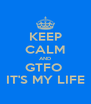 KEEP CALM AND GTFO  IT'S MY LIFE - Personalised Poster A4 size