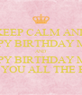 KEEP CALM AND HAPPY BIRTHDAY MELI AND HAPPY BIRTHDAY MELI I WISH YOU ALL THE BEST!!! - Personalised Poster A4 size