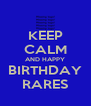 KEEP CALM AND HAPPY BIRTHDAY RARES - Personalised Poster A4 size