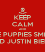 KEEP CALM AND HATE PUPPIES SMILING AND JUSTIN BIEBER - Personalised Poster A4 size