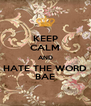 KEEP CALM AND HATE THE WORD BAE - Personalised Poster A4 size