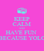KEEP CALM AND HAVE FUN  BECAUSE YOLO - Personalised Poster A4 size