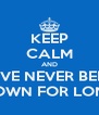 KEEP CALM AND HAVE NEVER BEEN  DOWN FOR LONG - Personalised Poster A4 size