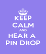 KEEP CALM AND HEAR A  PIN DROP - Personalised Poster A4 size