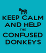 KEEP CALM AND HELP THE CONFUSED DONKEYS - Personalised Poster A4 size