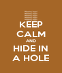 KEEP CALM AND HIDE IN A HOLE - Personalised Poster A4 size