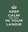 KEEP CALM AND HIDE IN YOUR LANDIE - Personalised Poster A4 size