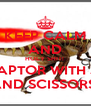 KEEP CALM AND HOLY SHIT!  VELOCIRAPTOR WITH JETPACK AND SCISSORS! - Personalised Poster A4 size