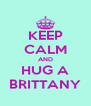 KEEP CALM AND HUG A BRITTANY - Personalised Poster A4 size